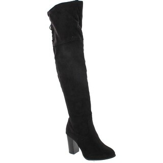 Qupid Zinc-01 Women's Lace Up Back Stretchy Over The Knee Stacked Chunky Boots - Black