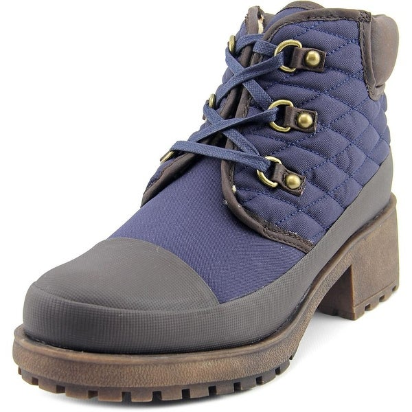 Lucky Brand Akonn Women Round Toe Canvas Blue Ankle Boot