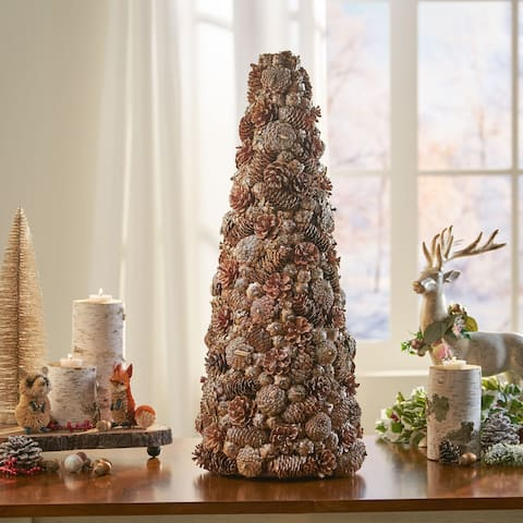 Darcy Pre-Decorated Pine Cone and Glitter Artificial Tabletop Christmas Tree by Christopher Knight Home