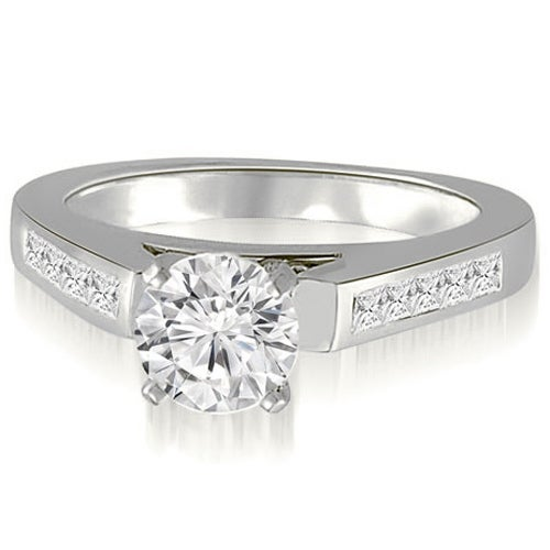 1.10 cttw. 14K White Gold Round And Princess Cathedral Diamond Engagement Ring