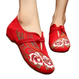 Camellia Old Beijing Embroidered Cloth Shoes red