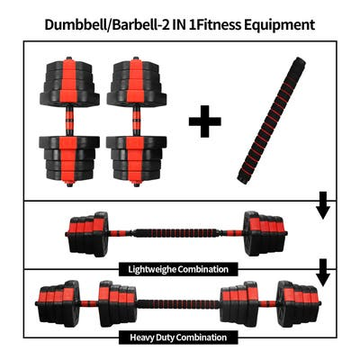 Ainfox 2 in 1 Adjustable Dumbbell Set 44/66lbs Red/Blue