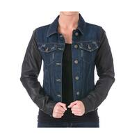 Laundry by Shelli Segal Womens Denim Jacket Faux Leather Sleeves