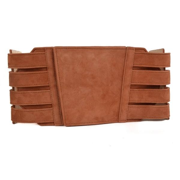 Balmain Suede Copper Brown Corset Waist Belt