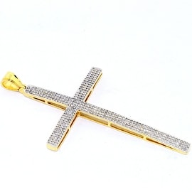 1/2cttw Diamond Cross Pendant 10K Yellow Gold 56mm Lenght Pave Set Diamonds(0.5cttw)