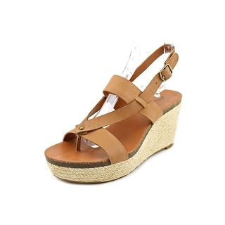 Lucky Brand Naturale Open Toe Leather Wedge Heel