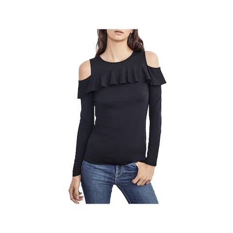 Velvet Womens Pullover Top Cold Shoulder Ruffled - S