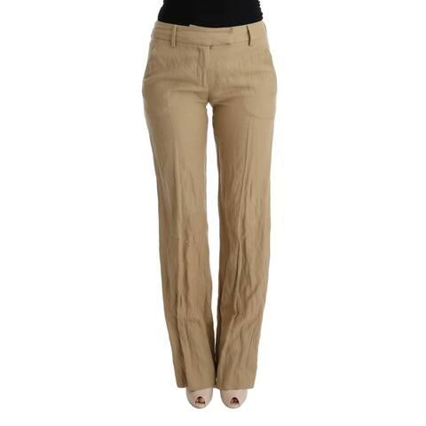 Ermanno Scervino Beige Wool Regular Fit Casual Women's Pants - it42-m