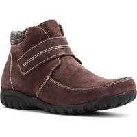 Propet Women's Delaney Strap Ankle Boot Brown Suede