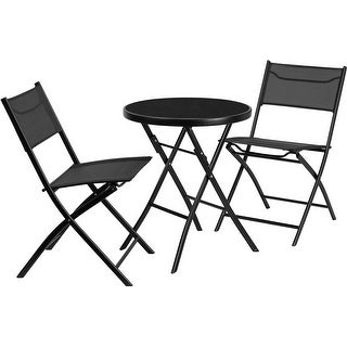 Skovde 3pcs Round 23.75'' Glass Metal Table w/2 Textilene Folding Chairs