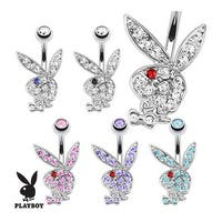 Multi Colored Gems on Playboy Bunny 316L Surgical Steel Navel Belly Button Ring (Sold Ind.)