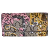 Gucci Women's 452349 GG Supreme Bengal Tiger Continental Flap Wallet - 7.5 x 4 inches