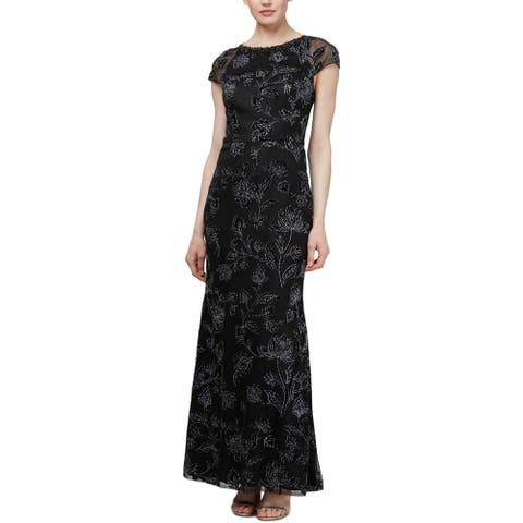 SLNY Womens Evening Dress Floral Glitter
