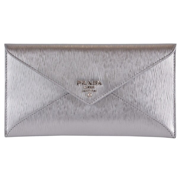3792aa141033 Prada 1MF175 Cromo Silver Saffiano Leather Envelope Wallet Clutch - S