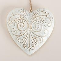 "4.5"" White and Gold Decorative Scrollwork Metal Heart Christmas Ornament"