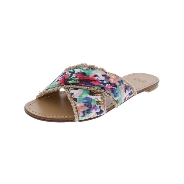 Stuart Weitzman Womens Edged Out Slide Sandals Flats Criss Cross
