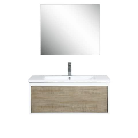Lexora Scopi 36 inch Single Vanity, 28 inch frameless Mirror w/ Faucet