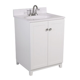 """Design House 612911 25"""" Freestanding Vanity Cabinet with Marble Vanity Top - White"""