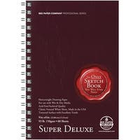 AquaBee Super Deluxe Double Wire Spiral Binding Acid-Free Sketchbook, 93 lb, 6 X 9 in, 60 Sheets, Natural White