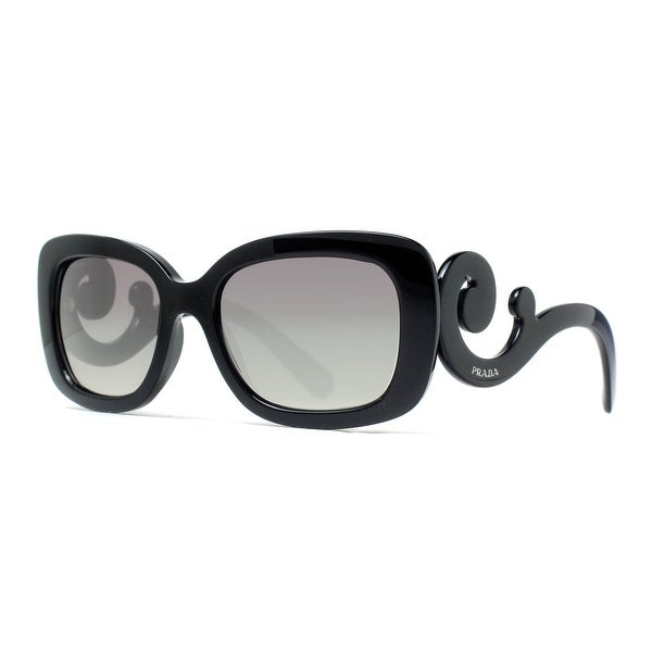 Prada SPR 27O 1AB-3M1 Black/Gray Gradient Women's Baroque Square Sunglasses - Black - 54mm-19mm-135mm