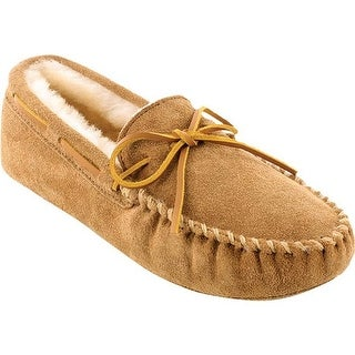 Minnetonka Men's Sheepskin Softsole Moccasin Golden Tan Suede/Sheepskin