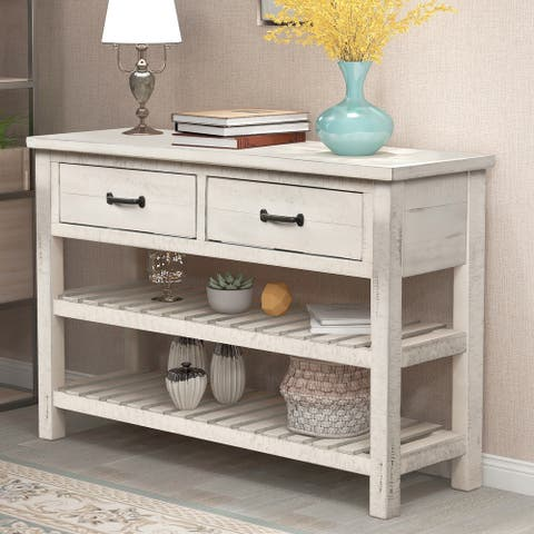 Antique White Retro Entryway Console Table with Drawers and Shelf