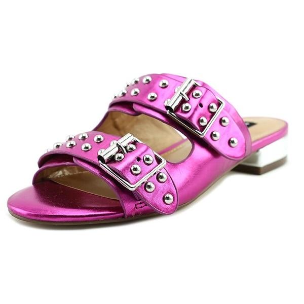 Design Lab Lord & Taylor Punk Women Open Toe Leather Pink Slides Sandal