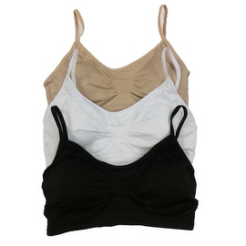 Women's 3 Pack Seamless Basic Color Adjustable Straps Padded Bralette Bras