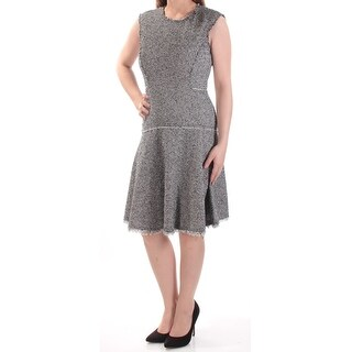 REBECCA TAYLOR $450 Womens New 1045 Black Ivory Fringed Fit + Flare Dress 0 B+B
