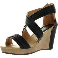 Bellamarie Nxt-14 Women Crisscross Ankle Strappy Back Zip Wedge Platform Sandal