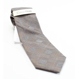 Calvin Klein NEW Beige Taupe Plaid Woven Men's Silk Blend Slim Necktie