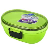Unique Bargains Microwave Oval Shaped Double Layers Lunch Box Food Storage Container Green
