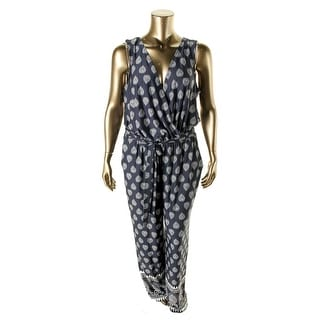 NY Collection Womens Plus Matte Jersey Pattern Jumpsuit