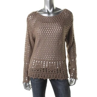 Jeanne Pierre Womens Open Stitch Long Sleeves Pullover Sweater - M