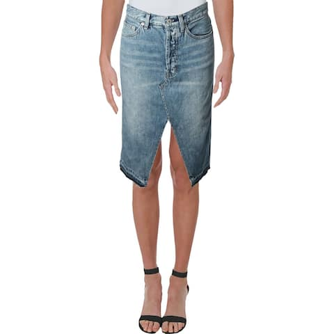 We The Free Womens Denim Skirt Button Fly Raw Hem