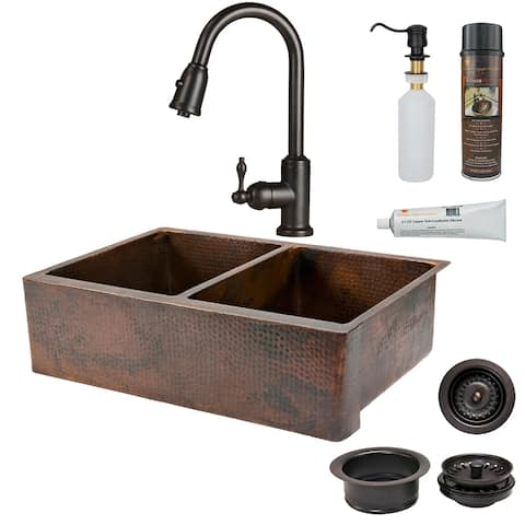 Premier Copper Products KSP2_KA50DB33229 Kitchen Sink, Pull Down Faucet and Accessories Package