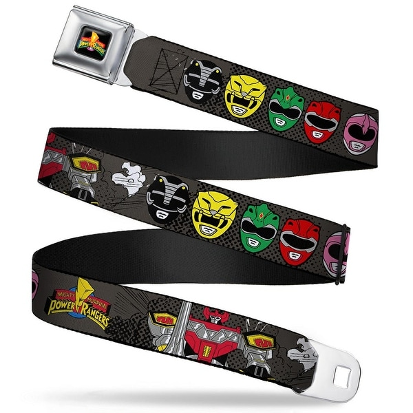 Power Rangers Logo Full Color Megazord Power Rangers Faces Mmpr Logo Gray Seatbelt Belt