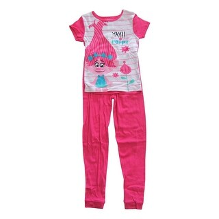 "DreamWorks Girls Pink White ""Yay Poppy"" Short Sleeve 2 Pcs Pajama Set"