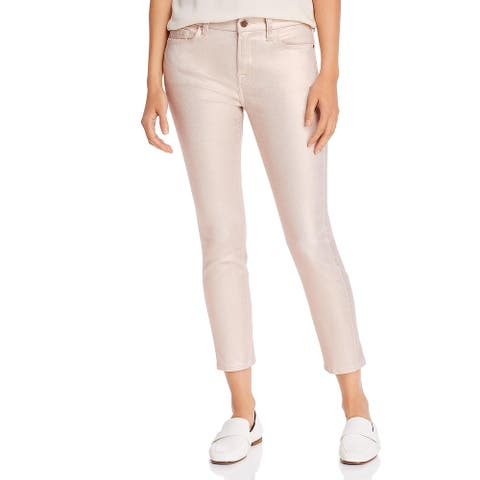 7 For All Mankind Womens Jen7 Ankle Jeans Denim Metallic - Rose Gold
