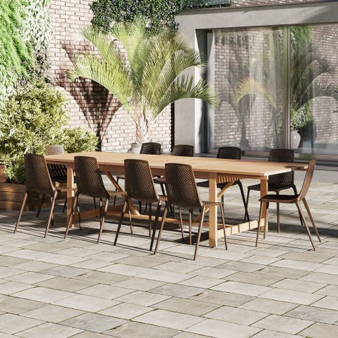 Perce White 11-piece Rectangular Side Chair Patio Dining Set by Havenside Home