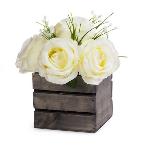 Enova Home Mixed Rose Flower Arrangement With Wood Planter For Home Wedding Centerpiece