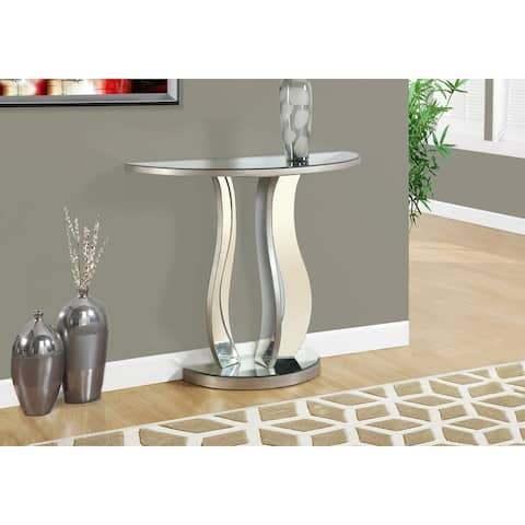Monarch 3727 Brushed Silver Mirror 36nch Accent Table