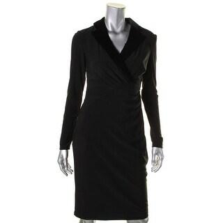 Lauren Ralph Lauren Womens Wear to Work Dress Matte Jersey Velvet Trim - 4