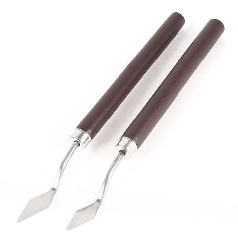 Unique Bargains 2 x Dark Brown Wooden Handle Metal Blade Palette Acrylic Paint Spatula 6.7