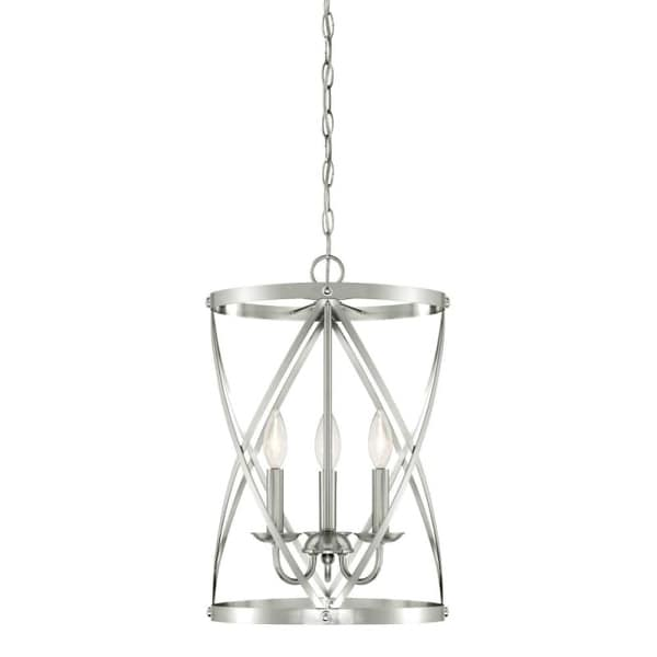 """Westinghouse 6303800 Isadora 3 Light 13"""" Wide Single Tier Caged Candle Style Chandelier - Grey"""