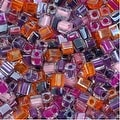 Miyuki 4mm Glass Cube Beads Color Mix Melonberry Purples Pink 10 Grams - Thumbnail 0