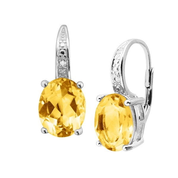 Shop 4 Ct Natural Citrine Earrings With Diamonds In