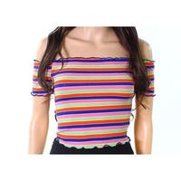 Timing Womens Large Lettuce-Trim Striped Knit Top $22