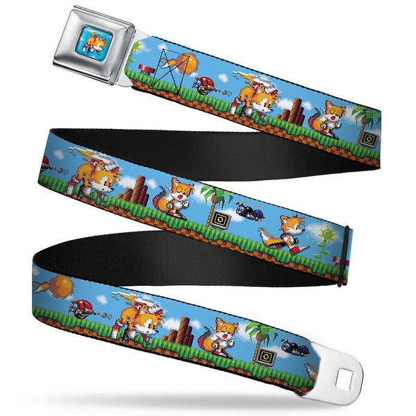 Tails Flying Pixelated Full Color Tails Pixelated Game Play Scene Webbing Seatbelt Belt