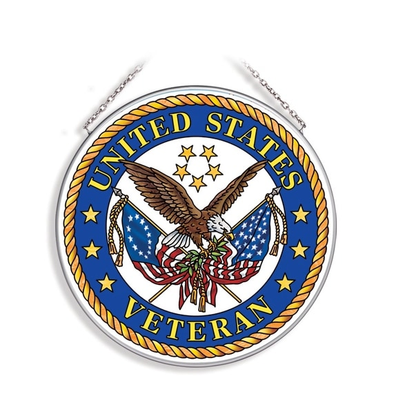 """Yellow and Blue United State Veteran Round Glass Wall Art Decor 6.75"""" - N/A"""